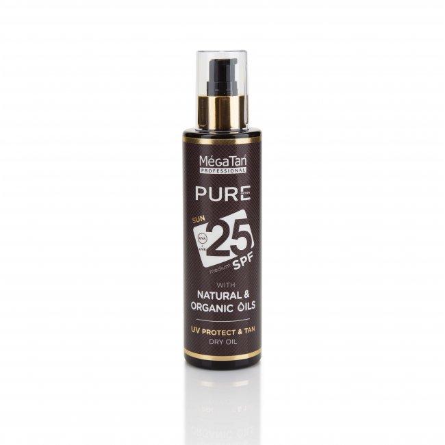 Слънцезащитно олио SPF25 MegaTan Pure, с натурални масла, 160ml